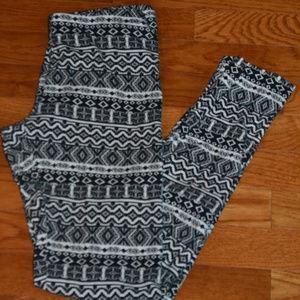 Pants - Black/White Leggings, Size Medium